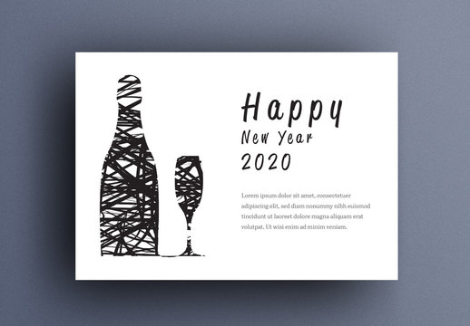 New Years Eve Card Layout with Wine and Glass Elements