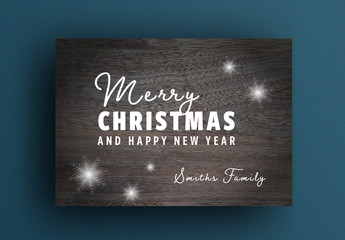 Christmas Card Layout with Wooden Background