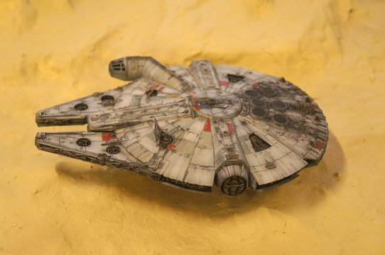 KUALA LUMPUR, MALAYSIA -NOVEMBER 3, 2018: Selected focused scale model of Millennium Falcon space ship from Star Wars franchise movies. The model displayed by the collector for the public.