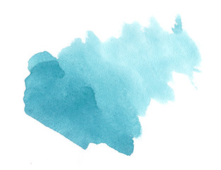 Blue watercolor on white background. Splash by art hand drawn for text.