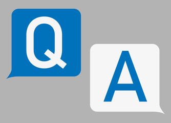 FAQ, questions and answers icon. Line, glyph and filled outline colorful version, Q and A speech outline and filled vector sign. Symbol, logo illustration. Vector graphics Wall mural