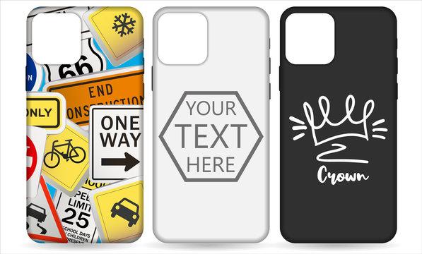 Phone case template set. Phone case mockup template vector illustration