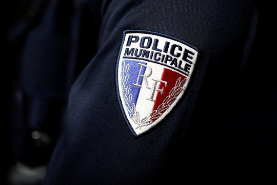 A badge of the French city police is pictured at the 21st Milipol Paris, the worldwide exhibition dedicated to homeland security, in Villepinte near Paris