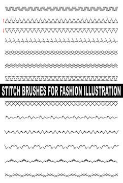 Stitch illustrator brushes for fashion illustration. Zig zag, overlock, chain, cross, hem, embroidery, zigzag. Colorable and customizable brushes.