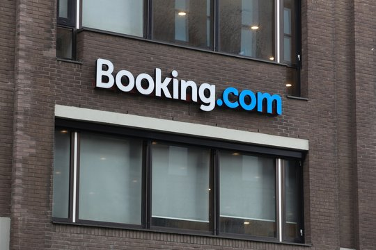 AMSTERDAM, NETHERLANDS - JULY 7, 2017: Headquarters of online hotel reservation giant Booking.com in Amsterdam, Netherlands.