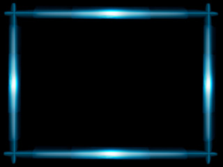 frame of blue glowing lines on a black background