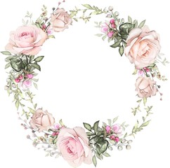 Floral badges collection set with wreath of flowers