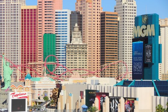 LAS VEGAS, USA - APRIL 14, 2014: Tropicana, New York New York and MGM Grand resort in Las Vegas. Among 25 largest hotels in the world, 15 are located on Las Vegas Strip.