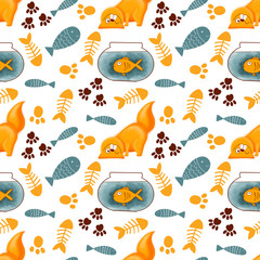 Cute seamless pattern with cats. Hand drawn kitty. Pattern for t-shirt, textile, fabric, web, poster, card and other design.