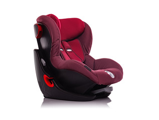 Child car seat is isolated on a white background.