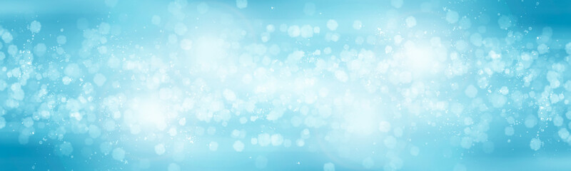Fotobehang - white bokeh blur background / Circle light on blue background / abstract light background