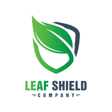 Green leaf shield logo design