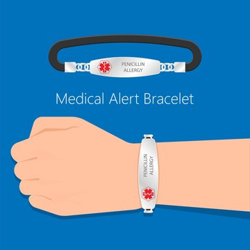 Medical ID alert bracelets emergency conditions allergic contact Info wearable device patient diabetic disease allergy information jewelry healthcare life threatening identification wrist