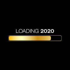 loading bar in gold with the message loading 2020