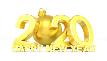 3d Illustration - Christbaumkugel 2020 - Silvester, Neujahr, Countdown, Jahreszahl - gold