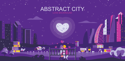Acrylic Prints Violet Vector illustration in simple flat style - romantic city landscape with couple in love - abstract valentine day banner and love background with copy space for text - header image for landing page.