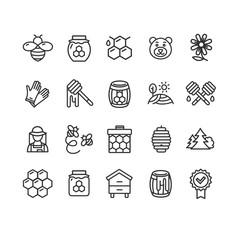 Obraz Honey Sign Black Thin Line Icon Set. Vector - fototapety do salonu