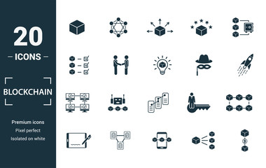 Blockchain icon set. Include creative elements block, distribution, confirmation, anonymity, protocol icons. Can be used for report, presentation, diagram, web design