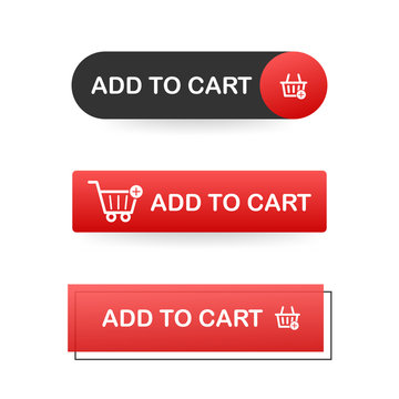 Set Add to cart icon. Shopping Cart icon. Vector stock illustration.