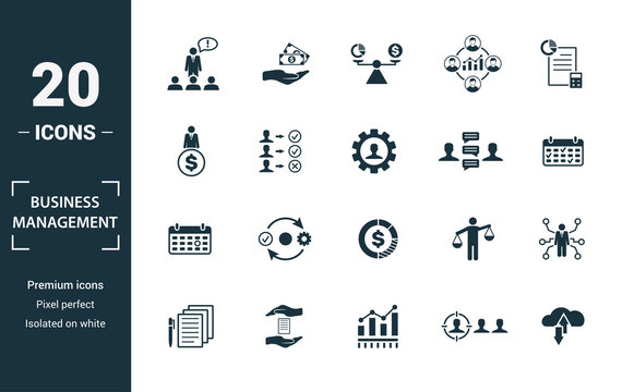 Business Management icon set. Include creative elements expert opinion, budget balance, sponsor, discussion, key event icons. Can be used for report, presentation, diagram, web design