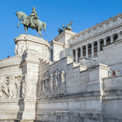 View of the national  monument a Vittorio Emanuele II on the the Piazza Venezia in Rome, Italy.