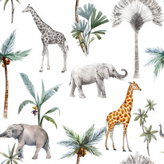 Watercolor seamless patterns with safari animals and palm trees. Elephant giraffe.