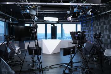 Obraz Modern video recording studio with professional cameras - fototapety do salonu