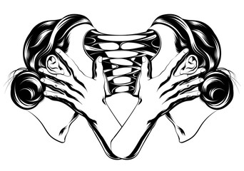 Vector hand drawn illustration of two surreal girls isolated. Creative tattoo artwork. Template for card, poster. banner, print for t-shirt, pin, badge, patch.