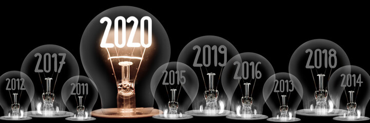 Light Bulbs with New Year 2020 Concept Wall mural