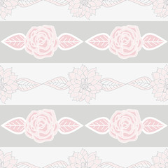 Vector Pink and Gray Fowers Floral with Leaves on Gray Stripes Background. Background for textiles, cards, manufacturing, wallpapers, print, gift wrap and scrapbooking.