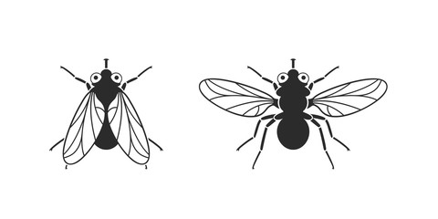 Fly logo. Isolated fly on white background Fotomurales