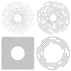 Abstract vector  background of concentric circles. Crcular lines graphic pattern. Dashed line ripples