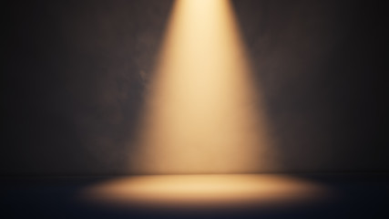 Deurstickers Licht, schaduw Stage white smoke spotlight background. 3D illustration