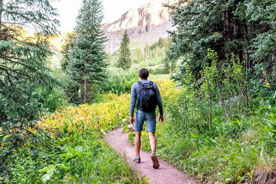 Man backpack walking on trail path to Ice lake in Silverton, Colorado in August 2019 summer morning green valley and false hellebore plants
