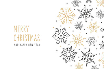 Wall Mural - Christmas snowflakes elements ornaments greeting card on isolated white background