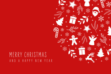 Fototapete - Christmas icon elements decoration card with greeting text red background.