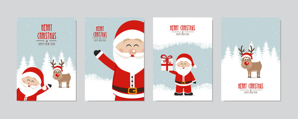Christmas card set. Merry Christmas and Happy New Year greeting with cute santa claus and reindeer winter snowy landscape background lettering vector.