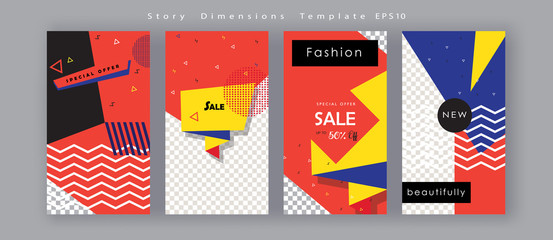 In de dag Pop Art Abstract brochure banner card post story social media frames set advertising trendy design fashion sign concept stories template vector geometric shapes holiday promotion pop art