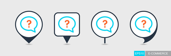 Speech bubble with question mark pin map icon