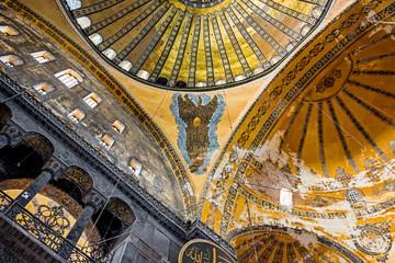Istanbul, Turkey - October 07, 2018: Interior of Hagia Sophia museum in Istanbul