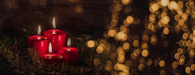 Fototapeta Four Advent burning candles, christmas decoration, postcard concept, banner obraz