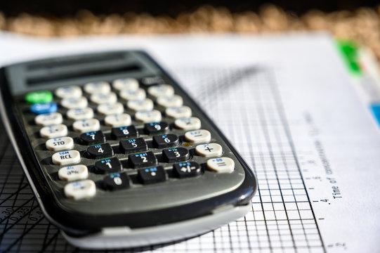Scientific calculator on top of psychrometric chart