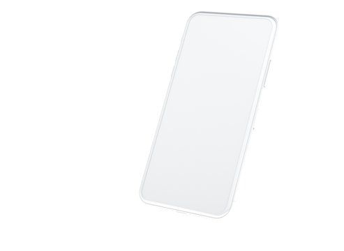 New smartphone with blank screen isolated Flat 3d