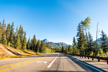 Scenic road in Colorado on Million Dollar Highway 550 with San Juan Engineer mountain peak view to Silverton from Durango wide angle Wall mural
