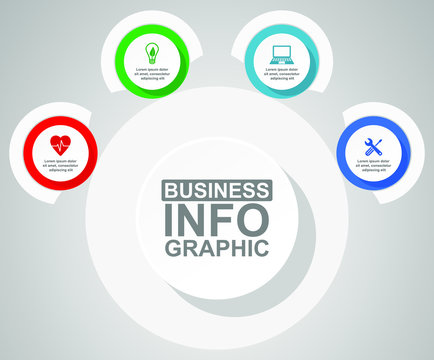 Business diagram, circular infographic template, web presentation in 4 options, vector illustration