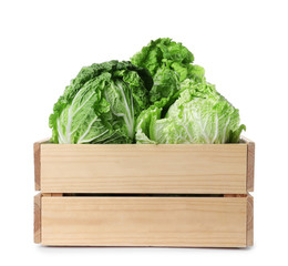 Spoed Foto op Canvas Keuken Wooden crate full of fresh Chinese cabbages isolated on white
