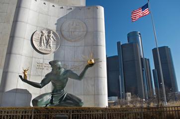 Detroit, January 26, 2018, Spirit of Detroit Statue In Downtown Detroit