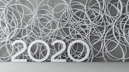 Happy New Year 2020 interior display wall / 3D render interior