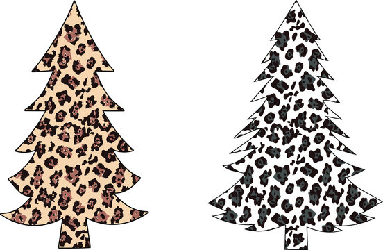 Leopard Christmas trees EPS 10 , Leopard Christmas t-shirt, Clip art