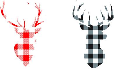 Buffalo Plaid Deer EPS 10, deer heads Clip art